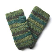 green stripe wool hand warmers