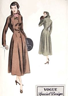 1940s Beautiful Coat Pattern Vogue Special Design 4023 Fitted Coat Flared Skirt Flared Wing Collar Bust 30 Vintage Sewing Pattern