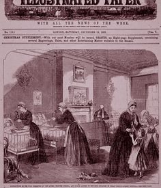 An engraving of the hospital's original ward, from the front page of The Penny Illustrated Paper (1863) with the caption 'Distribution of the toys presented by the Queen, Princess Helena and Prince Alfred to the sick children in  Great Ormond Street Hospital.