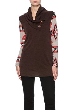 Long sleeve sweater with buttons for accent at the collar, cowl neck and Aztec printed sleeves.   Brown Aztec Sweater by Style Rack. Clothing - Sweaters Indiana