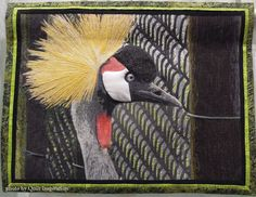 """Black Crown Crane, 22 x 28"""", art quilt by Claudia Gano, Carmel Valley, California. 2015 Pacific International Quilt Festival.  Photo by Quilt Inspiration."""