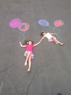 Sisters balloons chalk birthday