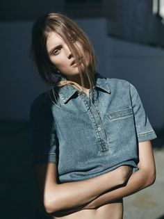 visual optimism; fashion editorials, shows, campaigns & more!: blues: constance jablonski by annemarieke van drimmelen for wsj february 2015 February 2015, Jeans Denim, Polo Jeans, Denim Top, Denim Editorial, Editorial Fashion, Fashion Shoot, Fashion Models, Fashion News