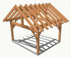 14x16 Timber Frame Plan - http://timberframehq.com/14x16-king-post-timber-frame/