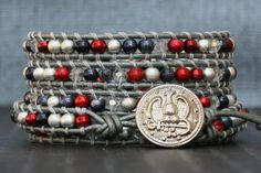 READY TO SHIP wrap bracelet- red, white and blue with crystal accents on silver leather- patriotic military america usa liberty Handmade Jewelry Bracelets, Diy Jewelry Making, Boho Jewelry, Jewelry Crafts, Beaded Jewelry, Wrap Bracelets, Jewelry Ideas, Metal Stars, Diamond Are A Girls Best Friend