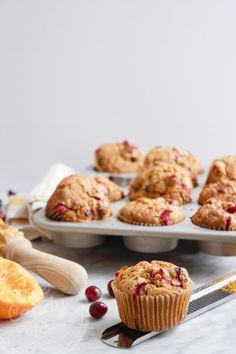 Cranberry, orange and chocolate chip low-gluten muffins, with chickpea flour (dairy-free)