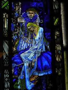 A detail from Harry Clarke's stained glass window, 'The Eve of Saint Agnes' Stained Glass Church, Stained Glass Art, Stained Glass Windows, Mosaic Glass, Harry Clarke, Melencolia I, Art Nouveau, St Agnes, Church Windows