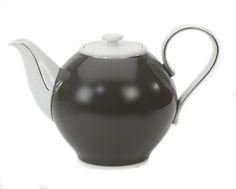 """Teapot, Shape """"Paris"""", Grey glaze, platinum decoration, V 1 l"""