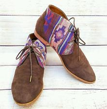 DV DOLCE VITA Women 8 Brown Suede Multi Color Ethnic Accent Ankle Boots Booties