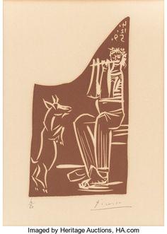 Prints:European Modern, Pablo Picasso (Spanish, 1881-1973). Faune et chèvre, 1959.Linocut in colors on Arches paper. 8-1/4 x 4-1/2 inches (21 x...