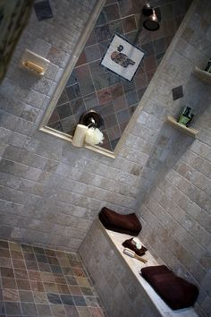 Great tile design for a shower in a cabin. #thetileshop