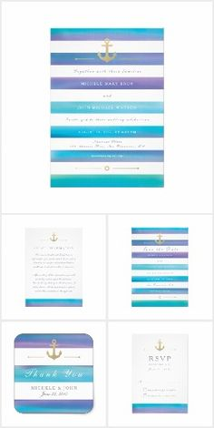Watercolor Blue Striped Nautical Wedding Invitation Suite | Includes Guest Information, RSVP, and Thank You Card