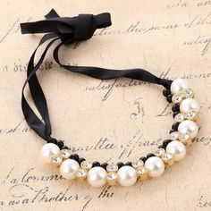 Black Rope Pearls Beads with Crystal Collar Chokers Necklaces