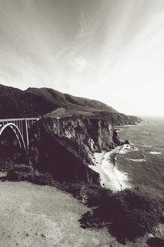 New free photo from Pexels: https://www.pexels.com/photo/grayscale-photography-of-bixby-creek-bridge-at-daytime-203342/ #sea #black-and-white #landscape