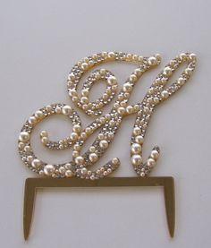 "6"" Tall Monogram Pearl Cake Topper with Swarovski for wedding cake"
