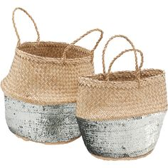 Get the party started with these bast baskets and their shiny silver sequins!