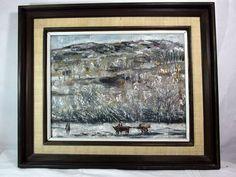 http://stores.ebay.com/mariasantiqueandvintage Vtg Korean Oil on Canvas Painting Xung Wan Wang Ox Cart Landscape Asian Abstract #Asian