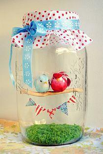 Must make this for my Sister, birds in a glass - Om te maken voor mijn zus, vogeltjes in een glazen potje.