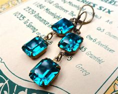 Swarovski Blue Zircon Earrings Vintage Rhinestones Teal Emerald Cut