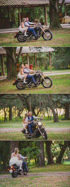 wedding photos of couple on groom's motorcycle during bird island lake ranch wedding