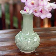 Celadon Ceramic 'Blue Sky Lotus' Vase (Thailand)   Overstock.com Shopping - The Best Deals on Vases