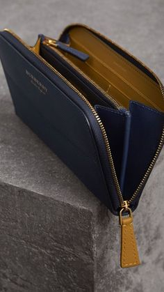 Accessories for Women Two-tone Trench Leather Ziparound Wallet in Ink Blue/ochre Yellow – Women Best Wallet, Long Wallet, Leather Purses, Leather Bag, Burberry, Leather Wallet Pattern, Cute Wallets, Wallets For Women Leather, Lv Bags