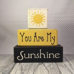 Wood sign blocks you are my sunshine primitive wood blocks birthday gift baby shower nursery