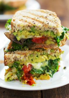 Avocado veggie panini vegetarian panini, healthy panini recipes, avocado re Think Food, I Love Food, Crazy Food, Vegetarian Recipes, Cooking Recipes, Healthy Recipes, Vegetarian Panini, Vegetarian Sandwiches, Drink Recipes
