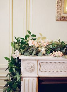 Eucalyptus and floral garland fireplace décor Wedding Fireplace Decorations, Wedding Mantle, Rustic Wedding Centerpieces, Garland Wedding, Wedding Flower Arrangements, Floral Garland, Flower Garlands, Decor Photobooth, Floral Wedding