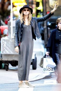 Grey Maxi's are essential to any wardrobe! We love how Behati rocks hers with a leather jacket and some tennis shoes! Click here to get yours!