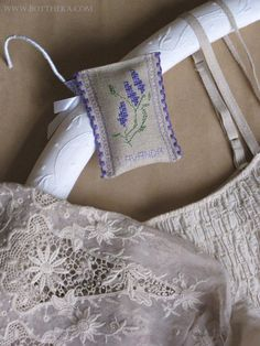 Lavender freshener pillow with cross stitch   Pattern: http://bottheka.com/en/in-times-of-lavender-flowering