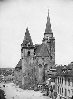ANAYA AND MIA WERE IN AN INFLATABLE PIRATE SHIP BOUNCE HOUSE ON  THE LEFT SIDE OF THIS CHURCH!! St. Johannis Church in Ansbach, Bavaria, Germany c1880 LOVE SEEING THE HISTORY OF THE TOWNS MY GIRLS AND I WALK DAILY!