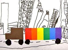"Kindergarten ""Rainbow Truck in the City"" by sandy"