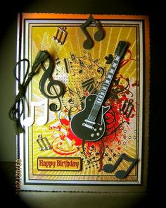 Card Gallery - Metallic Guitar and Music Decoupage