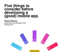 Five Things To Consider Before Developing a (Good) Mobile App