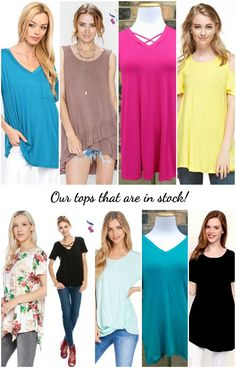 Our current in stock tops! abby + anna offers a wide variety of styles and sizes including plus size. We also have our own exclusive line of bamboo tops!