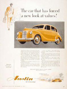 1952 Austin Devon A40 Sedan original vintage advertisement. Produced by Austin of England Co.