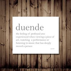 Duende - Profound Awe From Art and Music - Dictionary by DemureWords, $10.00