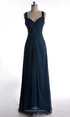 long straps blue formal dress
