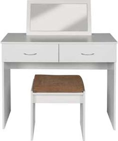 Impressions White Modern Dressing Table, Stool & Mirror for ensuite