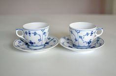 Royal Copenhagen Blue Fluted Plain-- 2 sets of Beautiful Coffee Cup set with saucer---perfect condition on Etsy, $90.57