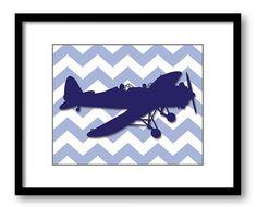 INSTANT DOWNLOAD Blue Airplane Chevron Nursery Art Child Baby Art Print Boys Kids Room Wall Art Decor