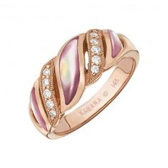 Kabana - Pink Mother of Pearl  Diamond Ring in 14k Rose Gold (.14 ctw)