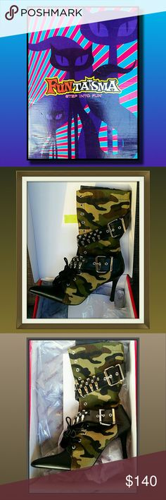 NEW IN BOX!!!  Fabulous Camo Militia Heeled Boots Camo heeled boots brand new in box.  Accents of bullets to make these boots HOT!  String still unstrung, and the shoes have not even hit the floor Funtasma Shoes