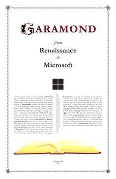 Typographic poster: Garamond from Renaissance to Microsoft #typography #poster #garamond #graphicdesign #renaissance #typeface Typographic Poster, Typography, Serif Typeface, Roman Fashion, Illustration Art, Illustrations, Fractals, Microsoft, Renaissance
