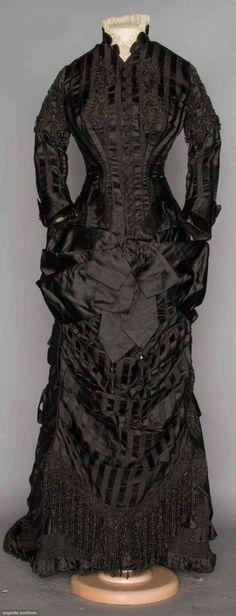Black Silk Stripe Mourning Dress, 1870s
