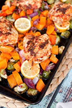 One-Pan Roasted Chicken with Butternut Squash and Brussels Sprouts