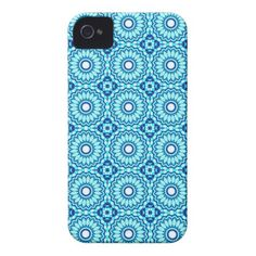 Navy Blue Cyan White 0010 iPhone 4 Cover