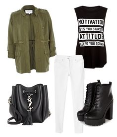 A fashion look from August 2015 featuring round neck shirt, fashion military jacket and zipper fly jeans. Browse and shop related looks. River Island, Polyvore Fashion, Yves Saint Laurent, Attitude, Mango, Motivation, Stuff To Buy, Shopping, Collection