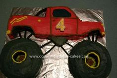 Homemade Monster Truck Birthday Cake: My hubby and I made this for our sons birthday. I made 4 cakes, 2 round for wheels, 1 bread loaf tin and a rectangular that was then cut to make shape.